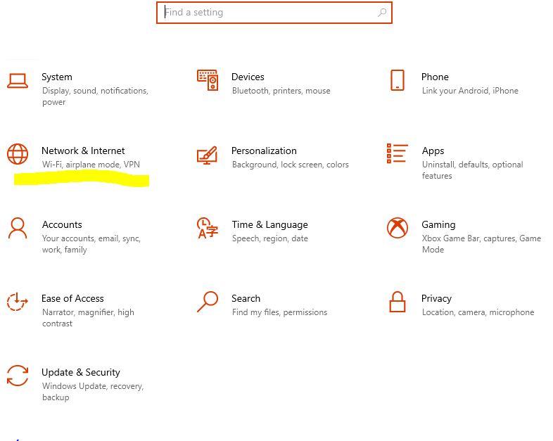Windows 10 Settings, Network & Internet