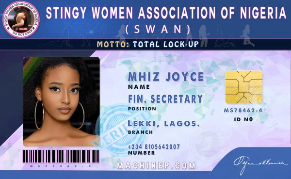 Stingy Women Association of Nigeria Official ID Card designed by Machinep Graphics at machinep.com 08105642007