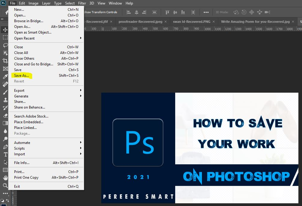 This beginner's Photoshop tutorial explains how to save your Photoshop Works as JPEG, PNG, TRANSPARENT, among other formats as you can see on the dropdown.  Machinep Graphics